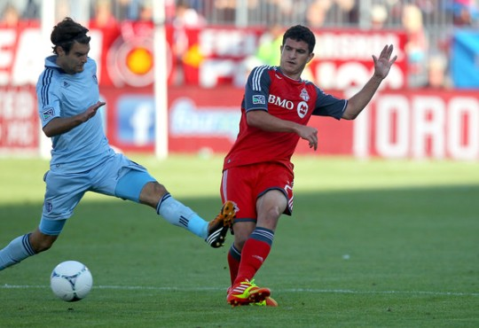 Logan Emory, right, with the Toronto FC in a 2013 MLS game.